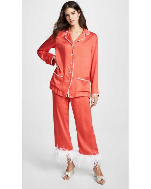 Lyst - Sleeper White Dots On Red Pajama Set in Red 87a892b91