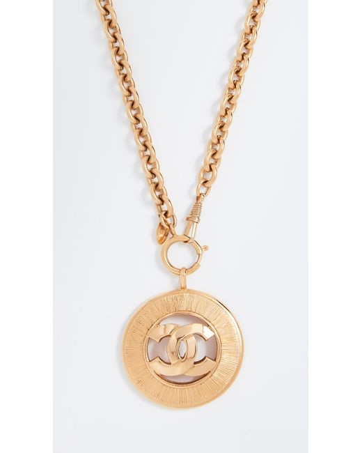 What Goes Around Comes Around - Metallic Chanel Cc Sunburst Necklace - Lyst