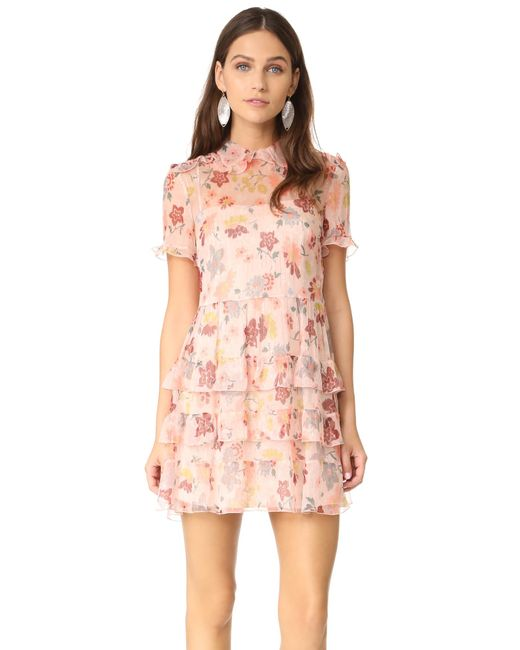 RED Valentino | Pink Collared Ruffle Dress | Lyst