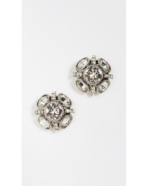 Oscar de la Renta - Metallic Classic Button Earrings - Lyst