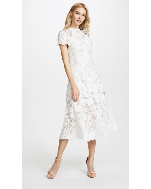 Jonathan Simkhai - White Crepe Applique Cap Sleeve Midi Dress - Lyst ...