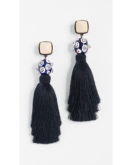 Tory Burch - Blue Silk Tassel Earrings - Lyst