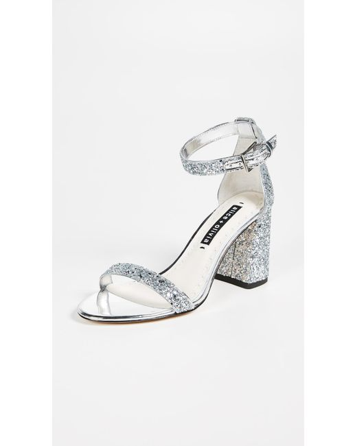 Alice + Olivia - Metallic Lillian Block Heel Sandals - Lyst