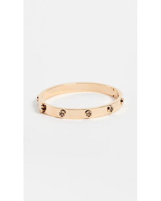 Tory Burch - Metallic Logo Stud Hinge Bracelet - Lyst