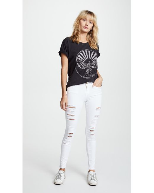 636601d9cfe ... FRAME - Blue Le Color Rip Skinny Jeans - Lyst ...