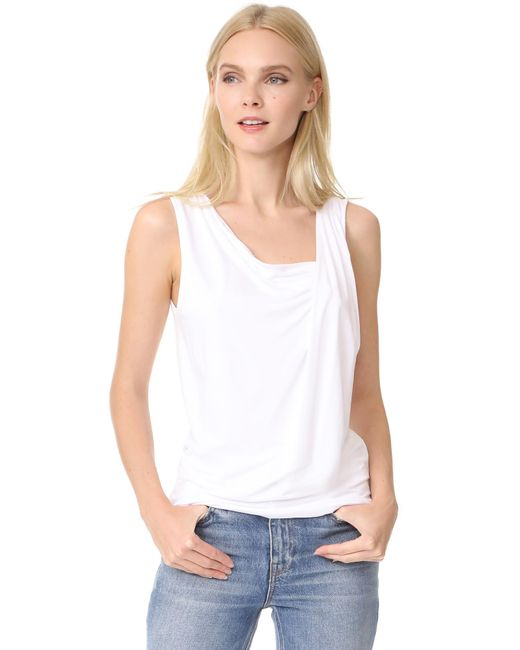 Three Dots | White Gathered Sleeveless Top | Lyst