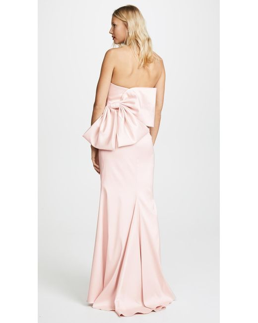 Badgley Mischka - Pink Bow Back Gown - Lyst
