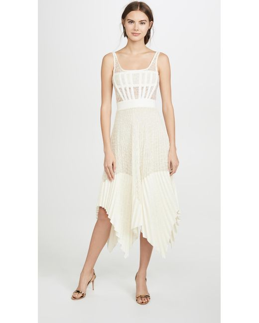 Womens White Vein Lace Pleated Corset Dress