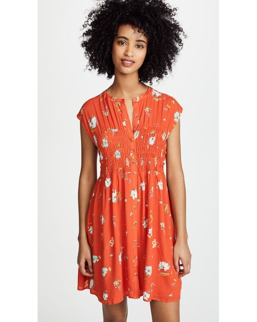 Free People - Red Greatest Day Smocked Mini Dress - Lyst