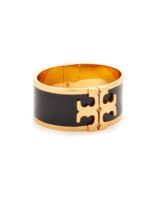 Tory Burch   Multicolor Enamel Raised Logo Wide Cuff Bracelet   Lyst