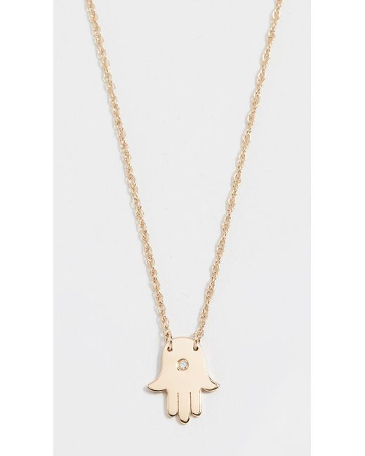 Jennifer Zeuner - Metallic Mini Hamsa Diamond Necklace - Lyst