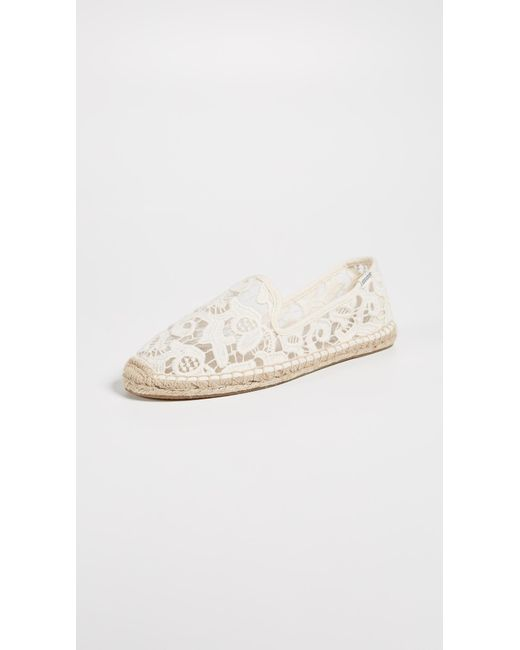Soludos - White Tulip Lace Smoking Slipper Espadrilles - Lyst
