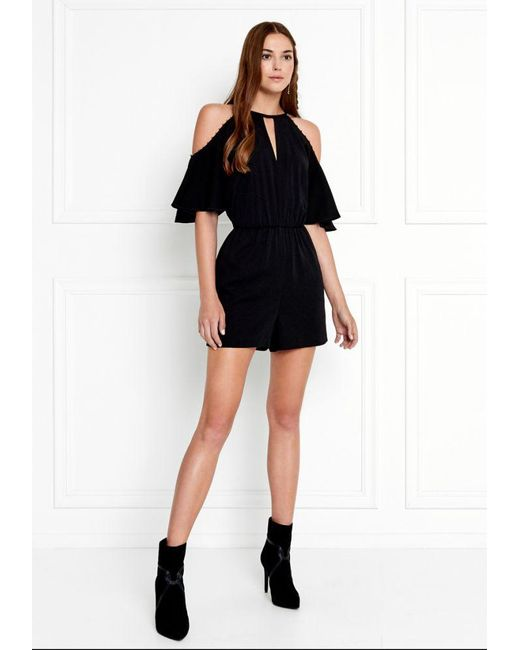 Rachel Zoe - Blue Gemini Cold-shoulder Stretch-crepe Romper - Lyst