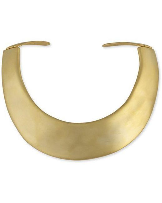 Kenneth Jay Lane - Metallic Satin Gold Hinged Necklace - Lyst