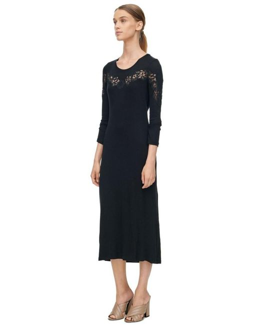 Rebecca Taylor - Black Long Sleeve Lace Inset Jersey Dress - Lyst