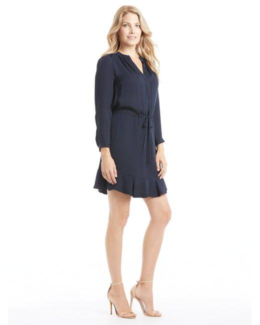 Rebecca Taylor - Blue Long Sleeve Navy Silk Dress - Lyst