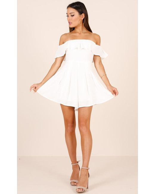 Showpo | All My Life Playsuit In White | Lyst