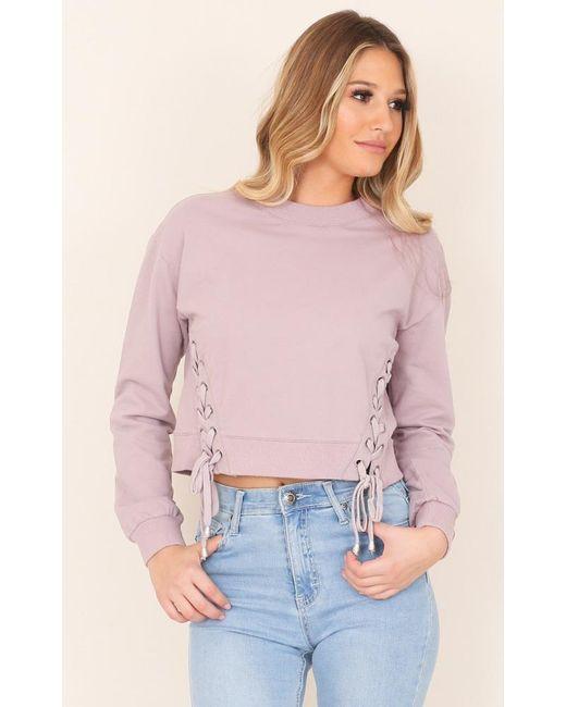 Showpo | Purple City Of Angels Sweater In Mauve | Lyst