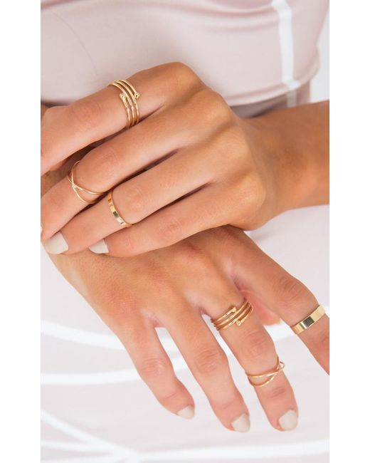 Showpo   Metallic Criss Crossed Ring Set In Gold   Lyst