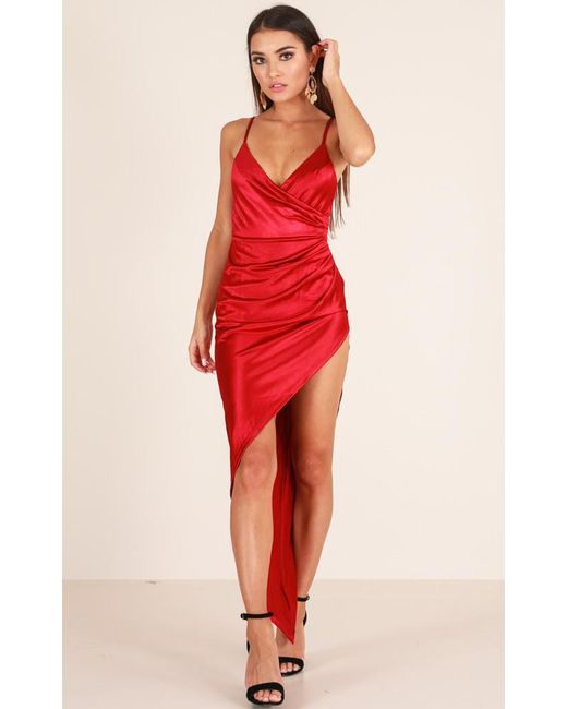 Showpo - Red Love In The City Dress In Wine - Lyst