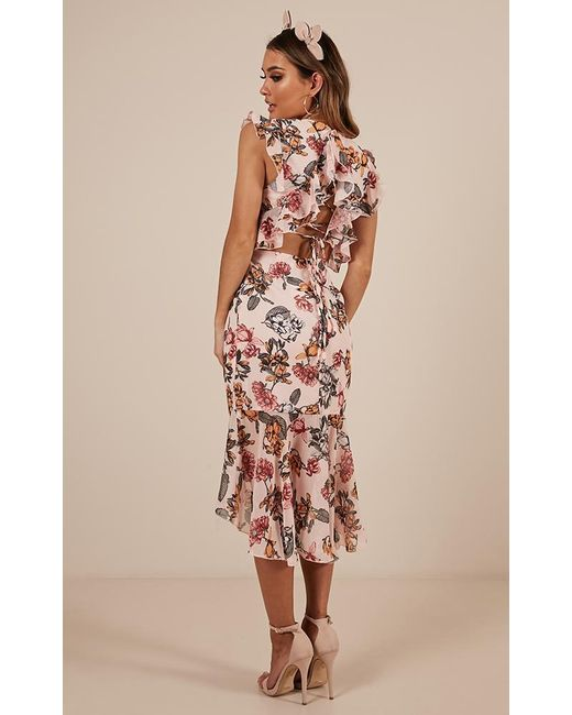 Showpo - Pink Tighten The Strings Dress In Blush Floral - Lyst