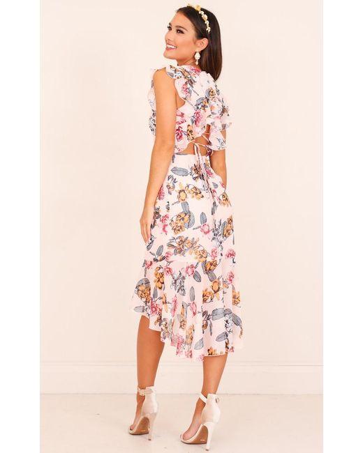 Showpo | Pink Tighten The Strings Dress In Blush Floral | Lyst