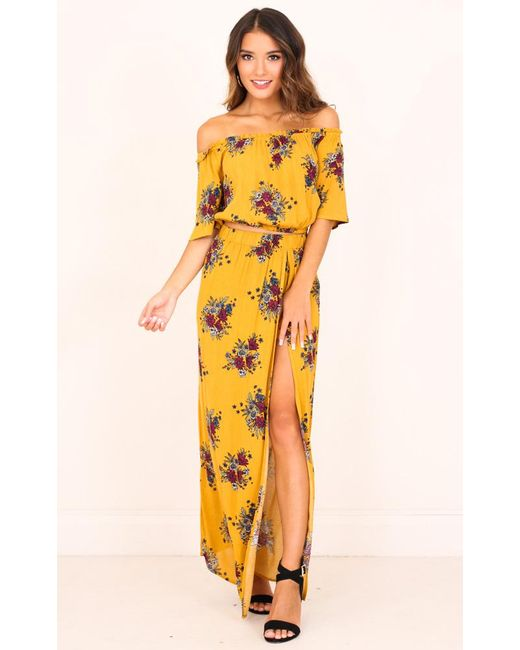 Showpo - Yellow Endless Dreams Two Piece Set In Mustard Floral - Lyst