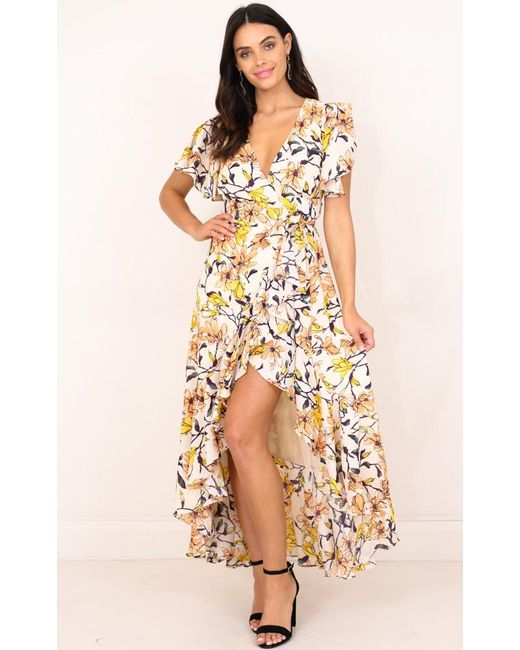 Showpo | Yellow Moments Like These Maxi Dress In White Floral | Lyst