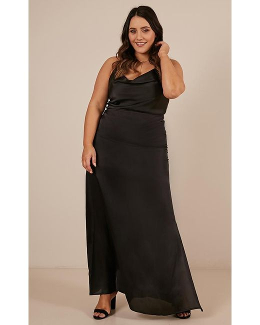 343fc98e14a ... Showpo - Style And Substance Maxi Dress In Black Satin - Lyst ...