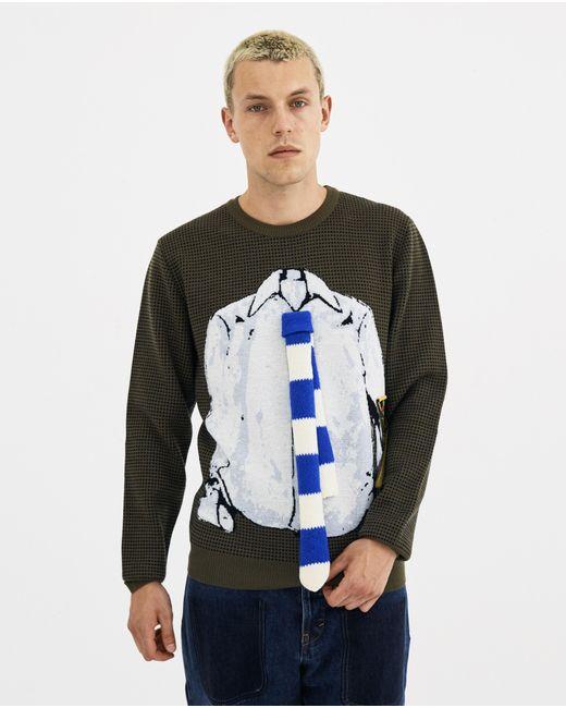J.W. Anderson - Multicolor Khaki Trompe L'oeil Shirt And Tie Crew Neck Sweater for Men - Lyst