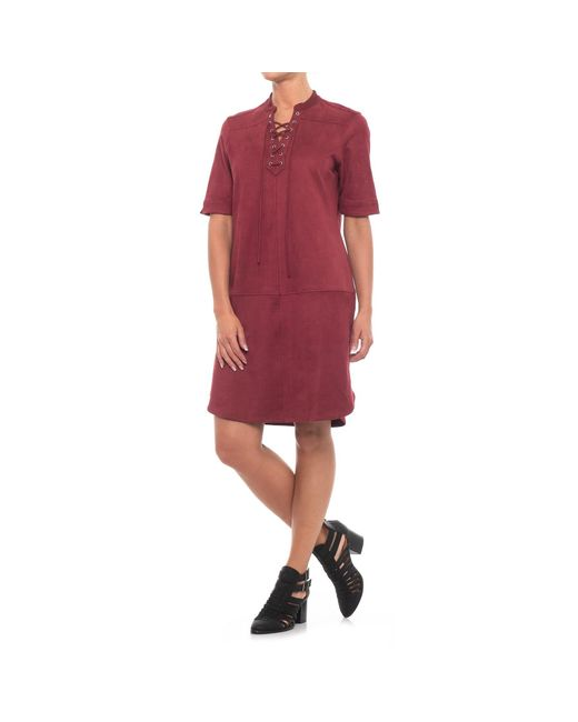 Foxcroft - Red Felicity Faux-suede Dress - Lyst