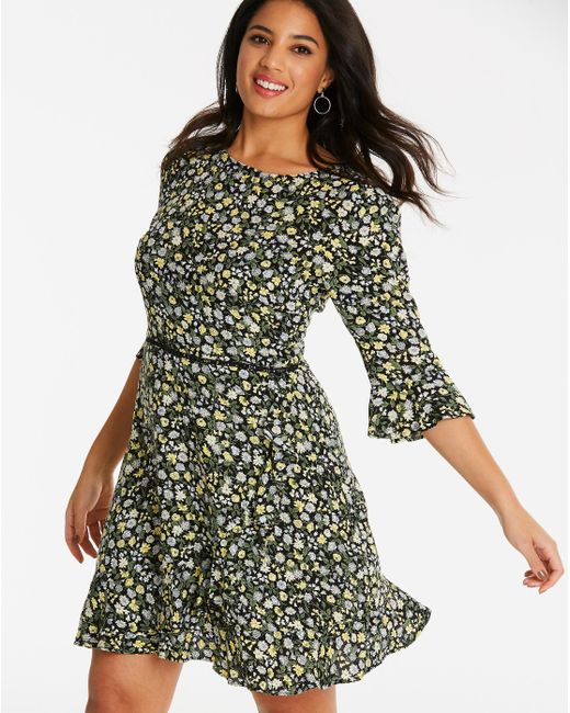 Simply Be - Multicolor Oasis Ditzy Frill Sleeve Dress - Lyst