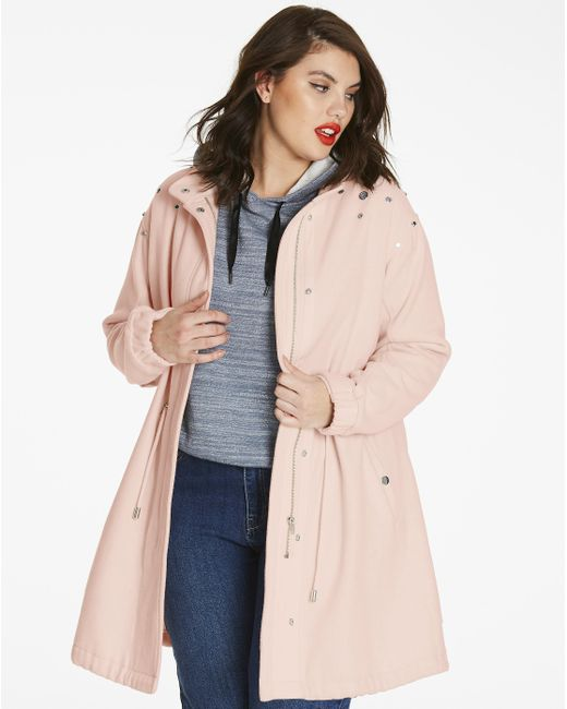 Simply Be - Pink Longline Wool Coat With Jewels - Lyst