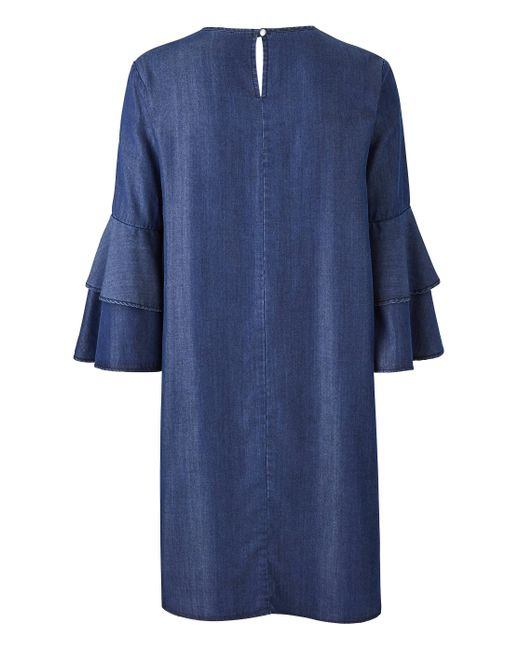 174c9bc59c ... Simply Be - Blue Embroidered Flared Sleeve Denim Swing Dress - Lyst ...