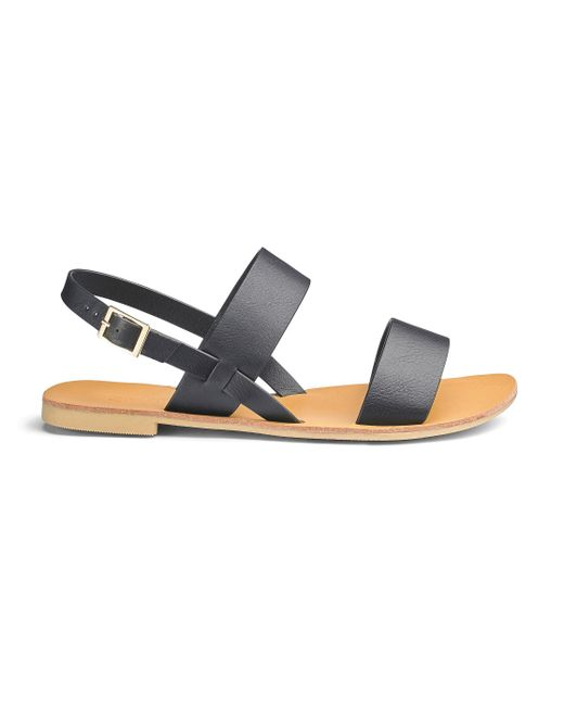 Simply Be - Black Jade Two Strap Sandals - Lyst