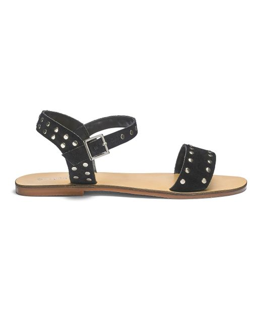 Simply Be - Black Miranda Leather Stud Sandals - Lyst