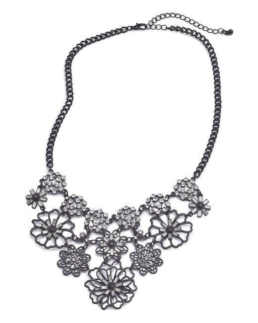 Simply Be - Black Floral Rhinestone Collar - Lyst