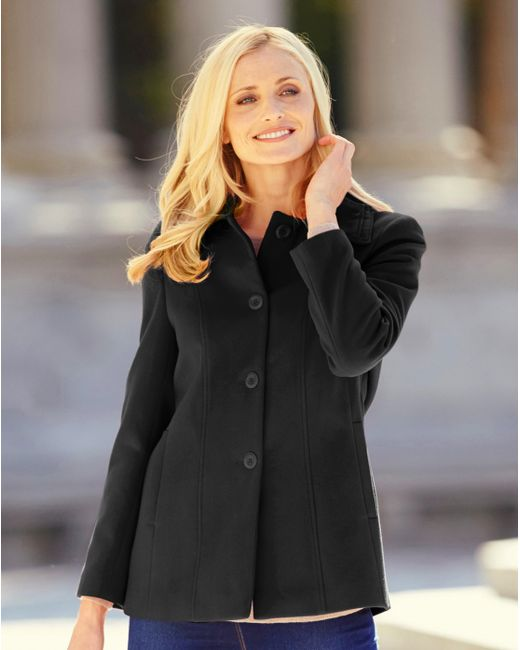 Simply Be - Black Collared Coat - Lyst