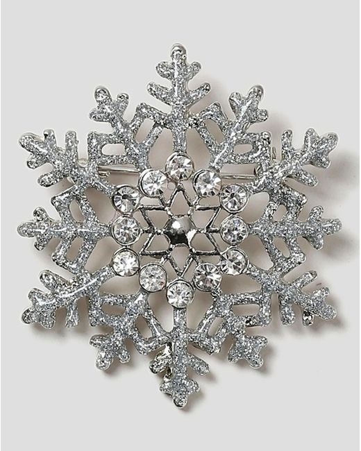 Simply Be - Metallic Snowflake Brooch - Lyst