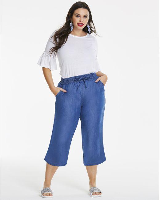 Simply Be - Blue Split Hem Soft Lyocell Denim Wide Leg Culotte - Lyst