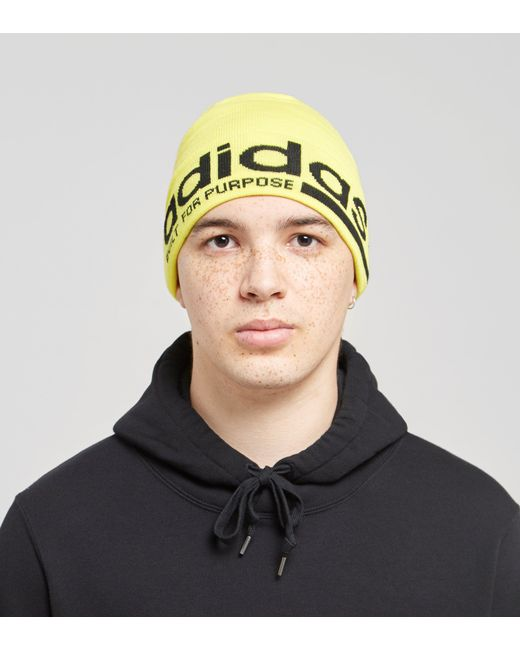 bfc32765 ... amazon adidas originals yellow purpose beanie for men lyst 8df3c d39dc