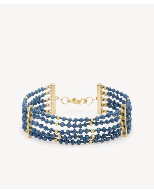 Sole Society - Blue Beaded Line Bracelet - Lyst