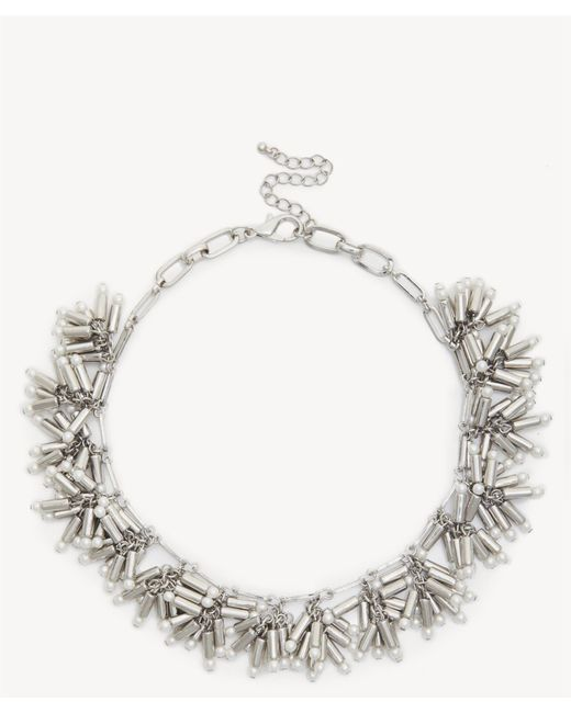 Sole Society - Metallic Pearl Cluster Statement Necklace - Lyst
