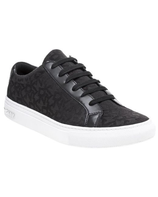 DKNY - Black Court Lace Up Sneaker Trainers - Lyst