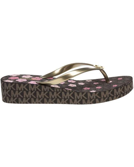 f97570816fd9 ... Michael Kors - Brown Bedford Flip Flop Sandals - Lyst ...