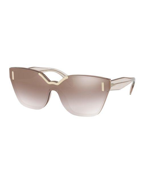 Prada - Brown 16ts Shield Sunglasses - Lyst