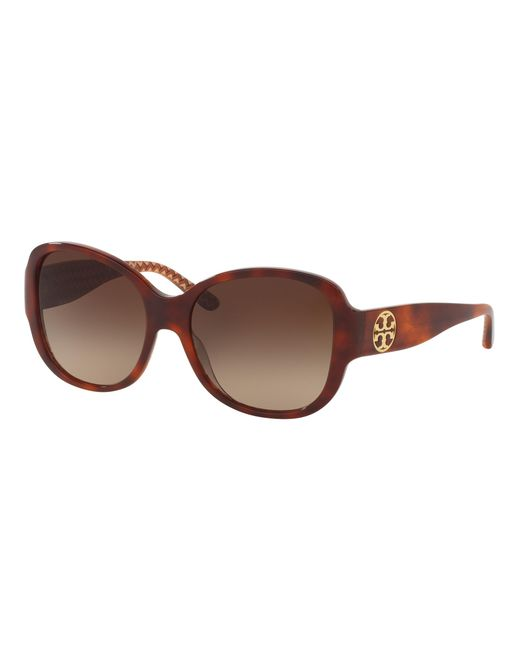 Tory Burch | Brown Stacked-t Square Sunglasses | Lyst