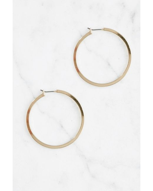 South Moon Under - Metallic Square Edge Gold Hoop - Lyst