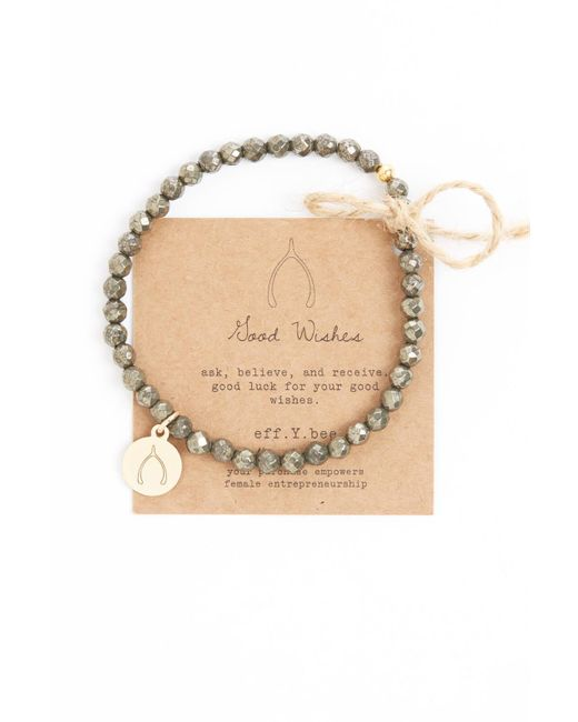 eff.Y.bee | Metallic Mini Bliss Pyrite Beaded Wishbone Charm Bracelet | Lyst