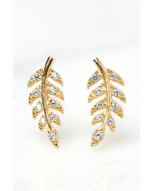 South Moon Under - Metallic Cubic Zirconia Delicate Leaf Stud Earrings - Lyst